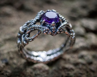 Sterling Silver Snake Ring, Serpent Ring, Amethyst Ring, Reptile Ring, Snake Jewelry, Animal Ring, Gemstone Ring