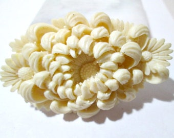 Deeply Carved Mum Buckle Celluloid Intricate Japan Beige Faux Ivory Color Vintage