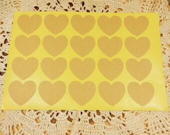 Blank Stickers, Kraft Heart Stickers, Wedding Favour Seals, Heart Kraft Labels, Kraft Stickers, DIY Wedding