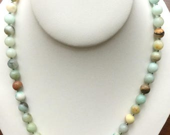 Amazonite 8mm Faceted Bead Necklace