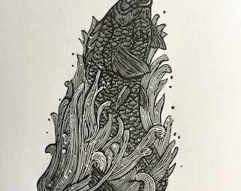 HOLY CARP! Limited Edition S&N Wood Engraving Print