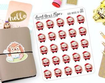 Santa Claus Planner Stickers - Hedgehog Planner Stickers - Santa Stickers - Character Stickers - Christmas Planner Stickers - 1003