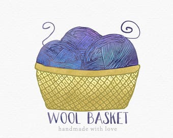 Yarn Basket Logo , Wool Basket Logo , Yarn Logo , Wool Logo , Crochet Logo , Knitting Logo , Fibre Arts Logo , Crochet Shop Logo