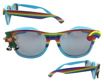 Women's Blue St. Patrick's Day Sunglasses with Hand-Applied Leprechaun and Rainbow Embellishments UV 400 Protection