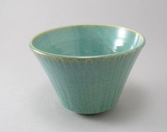Pottery Serving Bowl-Stoneware Bowl-Handmade Bowl-Green Ceramic Bowl