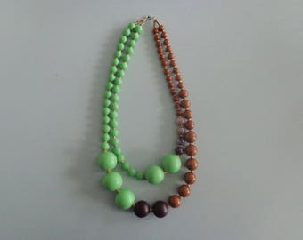 chunky necklace, green necklace, brown necklace, chocolate necklace, brown green necklace