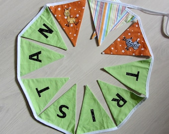 Bunting with a name to 9 letters * custom *.