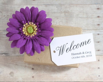 Welcome Bag Tags (20pc) - White Thank You Labels - Wedding Thank You Tag - Personalized Escort Cards - Bride and Groom Customized Tags