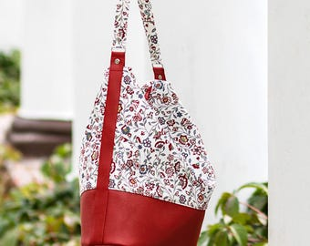 Hobo bag pattern and tutorial, shoulder purse pattern, floral handbag pdf pattern - t008