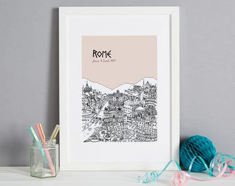 Personalised Rome Print | Unique Wedding Gift | Rome Art | First Anniversary Gift | Rome Picture | Wall Art | Engagement Gift