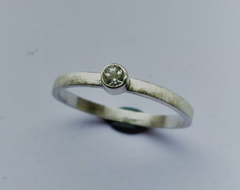 Sterling silver ring with white topaz of 3 mm stacking ring