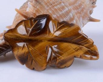 g0305 41-45mm Carved golden tiger eye leaf pendant focal bead