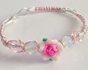 Innocently Pink Rose Gold Moonstone Bracelet Handmade