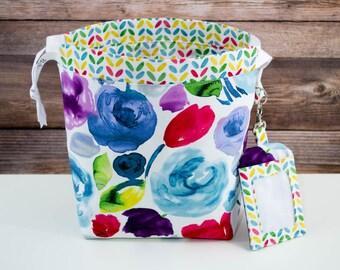 Fresh Flower Stand Sock Knitting Bag, Knitting Project Bag, Drawstring Bag, Small Project Bag, Crochet Bag,