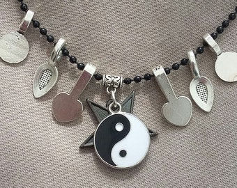Yin and Yang OR Star pendant. Reversible. Black and white.