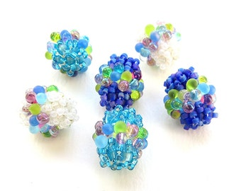 Bubbly Blue Barrels, Set of Six Beaded Beads, Peyote Stitch With Multicoloured Embellishment, 17mm x 15mm