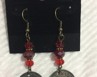 Handmade Palestinian coin earrings