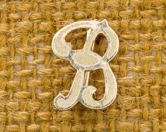 "Tiny Letter B Brooch Vintage Script ""B"" Gold Broach Vtg Pin 7JJ"
