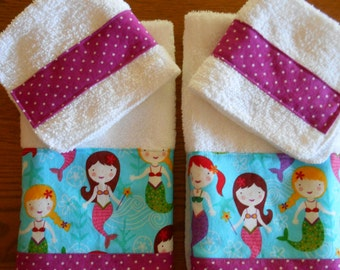 Matching Terry Cloth Hand Towels & Washcloths with Mermaid Print