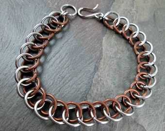 Chainmaille Bracelet - Bronze and Steel - Half Persian - Chainmaille Jewelry - Chainmail Bracelet - Mens Bracelet