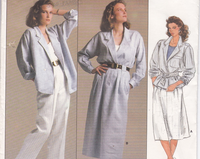 FREE US SHIP Vogue 1542 Designer Anne Klein Sewing Pattern Uncut Size 14 Bust 36 Suit Jacket Skirt Pants Loose Fitting