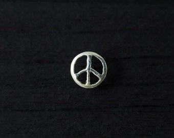 Peace sign sterling silver push in 16gauge bio flexible tragus / cartilage / helix piercing