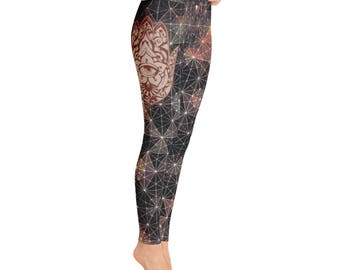 Womens Yoga Pants Hamsa Lotus Sacred Geometry Earth Tone Leggings Free Shipping.