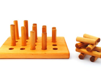 Wooden Sticks Toy - Peg Puzzle - Toddler Gift - Toddler Party - Birthday - Natural - Organic - Montessori Toy - Christmas