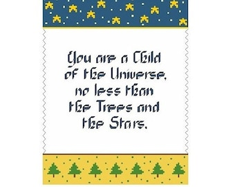 Child Of The Universe Sampler Cross Stitch Pattern - Digital Download