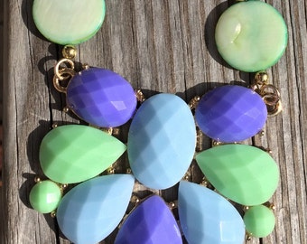 Mint and blue statement necklace
