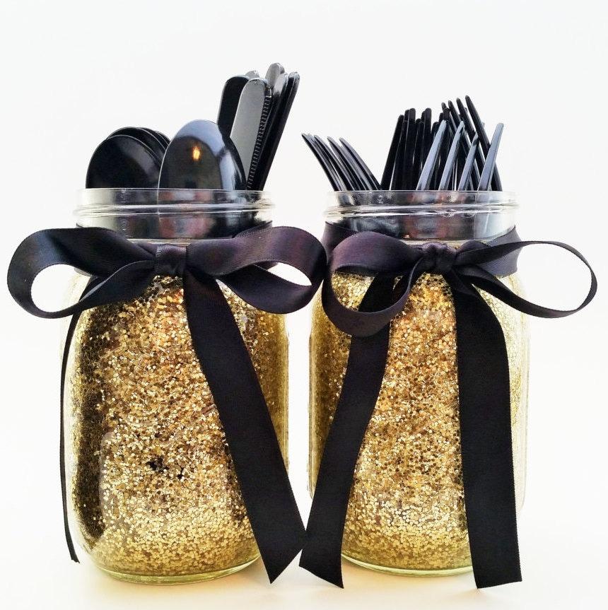 Black And Gold Party Decor Mason Jar Decor Glitter Jars