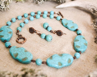 Turquoise jewelry set, Western jewelry, Bride of honor jewelry, Statement blue turquoise jewelry, December birthstone jewelry, Boho jewelry