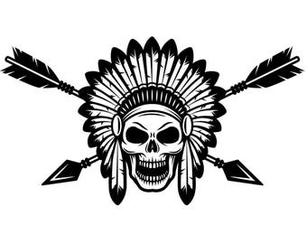 Indian Logo #1 Native American Warrior Skull Axe Headdress Feather Tribe Chief Aztec Tattoo .SVG .EPS .PNG Clipart Vector Cricut Cut Cutting