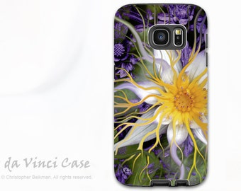 Lotus Flower Case for Galaxy S7 EDGE - Premium Dual Layer Galaxy S 7 EDGE Case with Green and Purple Floral Art - Bali Dream Flower