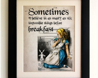 FRAMED Alice in Wonderland Print - Alice and the White Rabbit Quote, Vintage Style, Shabby Chic, Wall Art Print, Fab Picture Gift