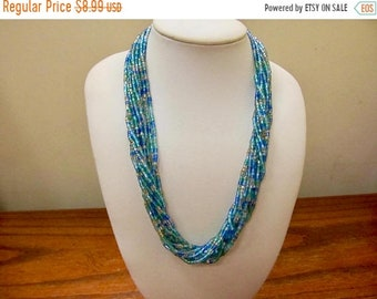 On Sale Vintage Blue Green Glass Beaded Multi Strand Necklace Item K # 3305