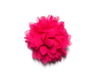 Hot Pink Chiffon Chrysanthemum Hair Flower Clip