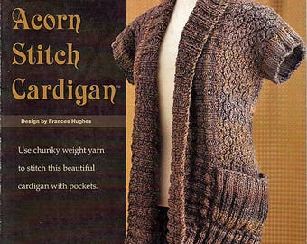 Textured Acorn Stitch Cardigan to Knit Pattern Booklet Annies Attic 885125