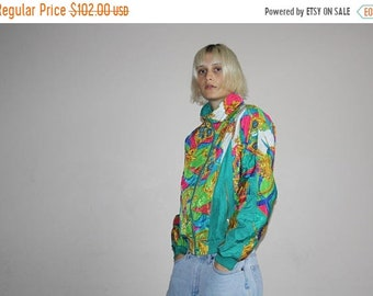 Flash SALE 50% - Neon Green 90s Graphic Hip Hop Fresh Prince Baroque Scarf Royalty Bomber Windbreaker Jacket -  90s Bomber Jacket - 1990s Wi