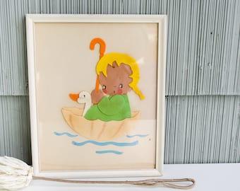 Vintage / 40's / Nursery Art / Felt Art / Girl's Room / Children's / Antique / Wall Decor / Toddler / Baby Shower