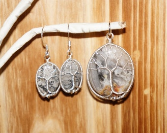 Natural Crazy Lace Agate Tree of Life Pendant