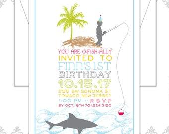 Shark Fishing Birthday Invite, Little Boy Fishing Birthday Invitation, Beach Fishing Birthday, Shark Fishing, Shark Party, shark Invite