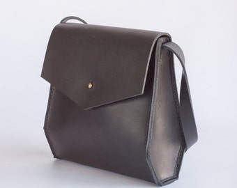 Geometric Leather Shoulder Bag
