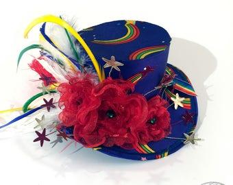 Superfun Rainbow Brite Mini Top Hat - Magical Accessory, Gothic Lolita, Mad Hatter, Steampunk Wedding, Victorian Wedding, Derby Facinator