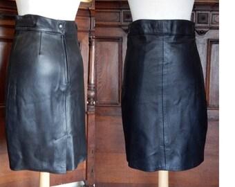 VTG 80's BLACK Leather high waist moto pencil midi skirt bodycon grunge city small soft leather