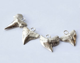 Shark Tooth Pendant | Silver Shark Tooth | Dainty Silver Charm | Surfer Charm | Shark Tooth Necklace | Fossil Shark Tooth | Sterling Silver