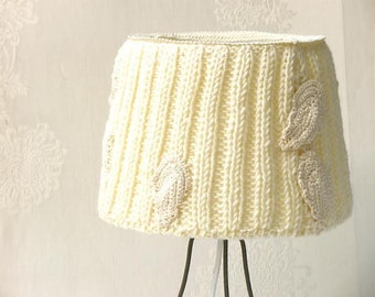 Table lamp, Drum lamp shade, Knitted cream vintage lamp, Desk lamp, Shabby chic lampshade, Vintage room decor, Vintage lace crochet Light.