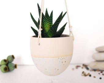 Ceramic hanging planter L, ceramic pot, planter pot, ceramic pot, garden planter, succulent planter, cactus planter, gift for gardener