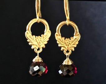 Deep Crimson Oxblood Garnet Briolette Earrings