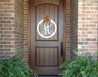 Monogram Door Hanger Monogram Door Wreath Initial Door Hanger Wooden Monogram Wooden Letters Wall Hanging Wedding gift & Letter door hanger | Etsy